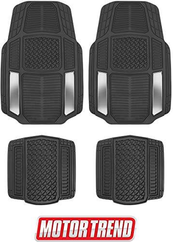 Motor Trend MT-824 Chrome Armor-Tech All Weather Floor Mats, 4 Piece Set - Waterproof, Heavy-Duty Front & Rear Rubber Liners for Car, Truck, SUV & Van (2018 Camry All Weather Floor Mats)