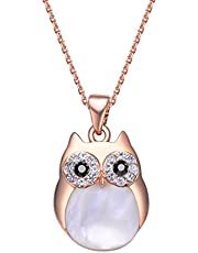 Mestige Rose Gold Professor Owl Charm Necklace with Swarovski® Crystals, Pearl, Gift
