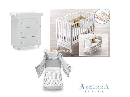 Kinderbett Azzurra Design Contact weiß + Set Textil grau + Badewanne/Wickelauflage Drei Schubladen