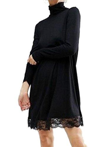 Comodi Elegante Voga Pizzo Delle Collo A Alto Vestito Colore Nero Puro Giunzione Donne Aqx7q8