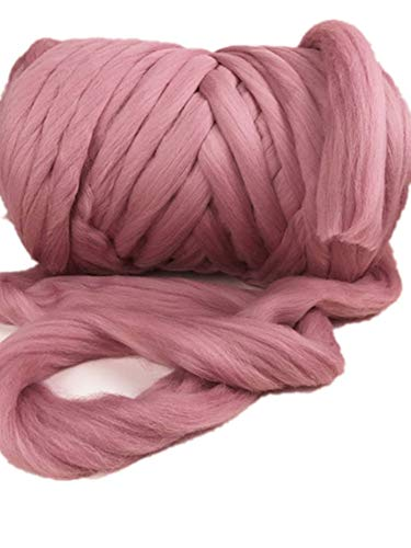 HomeModa Studio 100% Non-Mulesed Chunky Wool Yarn Big Chunky Yarn Massive Yarn Extreme Arm Knitting Giant Chunky Knit Blankets Throws Grey White (2kg/100M/4.4 lb, Hot Pink) (Type Of Yarn For Arm Knitting Blanket)