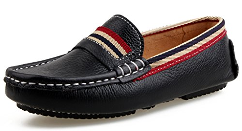 SKOEX Boy's Club Genuine Leather Loafers Casual Slip On Boat Shoes (Toddler/Little Kid/Big Kid) US Size 10 Black