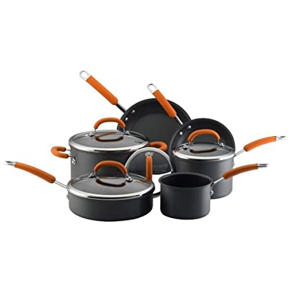 Rachael Ray Orange Handle Hard Anodized 10 Item set