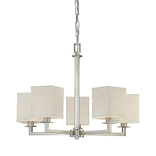 Hampton Bay Menlo Park 5-Light Brushed Nickel (Bay Five Light Chandelier)