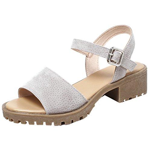 86a0735382e9 Damen Offen Chunky Heel Sandalen mit 4cm Absatz Bequem Sommer Schuhe  Aiyoumei Erscheinungsdaten Authentisch mAQhyfCEUH