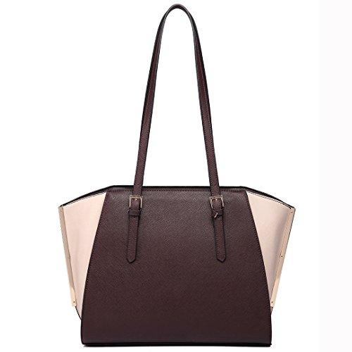 Bag Women Handle Adjustable Miss Lulu Coffee Handbag Faux Tote Leather Shoulder 6614 Large aRnvw5q0
