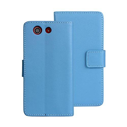 Trumpshop Smartphone Carcasa Funda Protección para Sony Xperia Z3 + (Plus) + Púrpura + Ultra Delgada Cuero Genuino Caja Protector con Función de Soporte Ranuras para Tarjetas Crédito Choque Absorción Azul