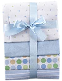 Luvable Friends Flannel Receiving Blankets, Blue, 4 Count BOBEBE Online Baby Store From New York to Miami and Los Angeles