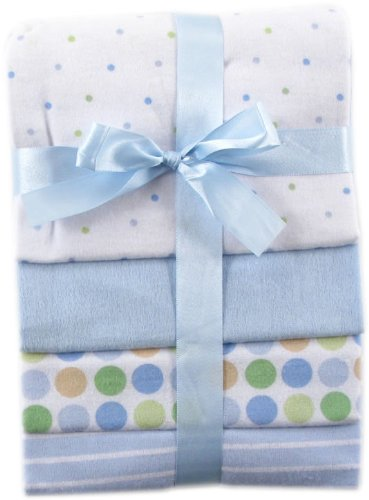 Luvable Friends Flannel Receiving Blankets, Blue, 4 Count