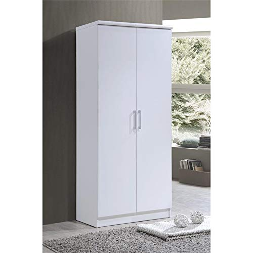 (Pemberly Row Hodedah 2-Door Armoire with 4-Shelves in White)