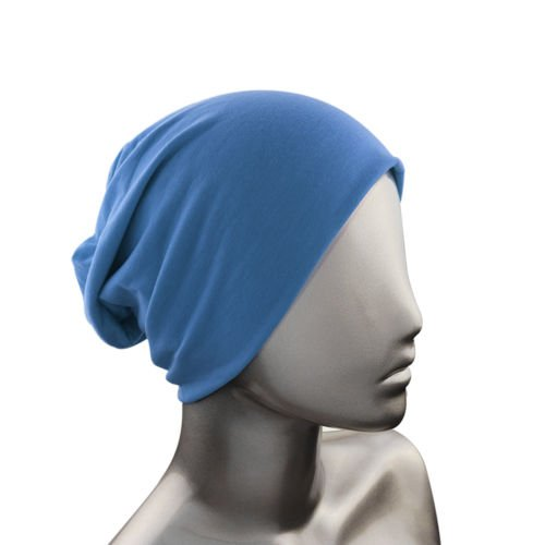 Knit Men's Women's Baggy Beanie Oversize Winter Hat Ski Slouchy Chic Cap Blue color (Short With Bows Uggs)
