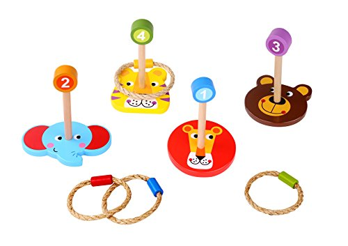 Toddle Toy Ring Toss - Ideal Wooden Ring Toss Game - Portable and Most Colorful Ring Toss Games for -
