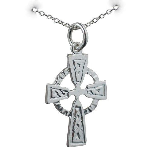 Croix Celtique de 22x16mm en argent, motif en relief avec chaîne Rolo