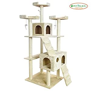 "PET PALACE 72"" Extra Large Cat Kitten Activity Tower Tree with Condos and Deluxe Scratching Posts APL1341, Ivory"