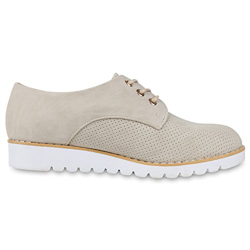 napoli-fashion Damen Halbschuhe Dandy Style Brogues Profilsohle High Fashion Jennika Creme Weiss