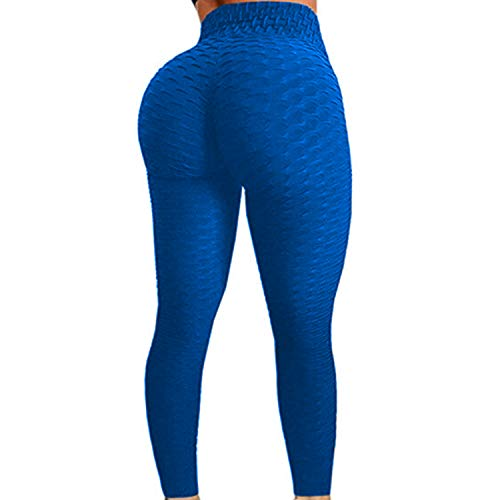 FITTOO Womens High Waist Textured Workout Leggings Booty Scrunch Yoga Pants Slimming Ruched Tights Blue S