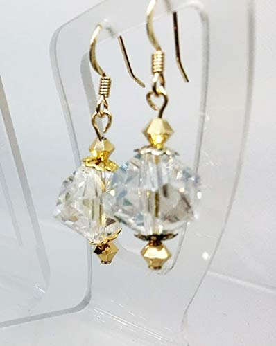 Clear Obtuse Glass Crystal and Golden Austrian Crystal 1 1/2