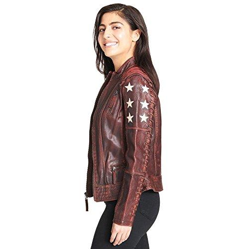 Black Rivet Womens Distressed Stars and Stripes Leather Jacket W/Lacing (Black Rivet Leather Jacket)