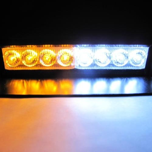 DIYAH 8 LED Warning Caution Car Van Truck Emergency Strobe Light Lamp For Interior Roof Dash Windshield (Amber and White)