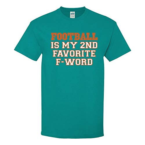 UGP Campus Apparel Football is My 2nd Favorite F-Word - Miami Humor Sports Tailgate T Shirt - Medium - Tropical Blue