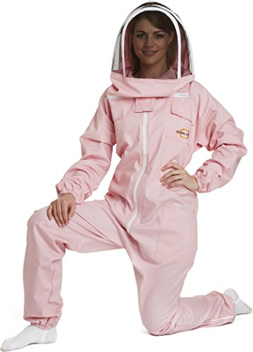 Natural Apiary - Apiarist Beekeeping Suit - Pink - (All-in-One) - Fencing Veil - Total Protection for Professional & Beginner Beekeepers - Large