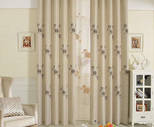 BW0057 Elegant Exquisited Peony Flower Embroidery Cotton Linen Window Curtain Treatment Drape for Living&Kids Room Bedroom(1 Panel, W 42 x L 95 inch, Beige) 1300783C1BYHWH14295-6203