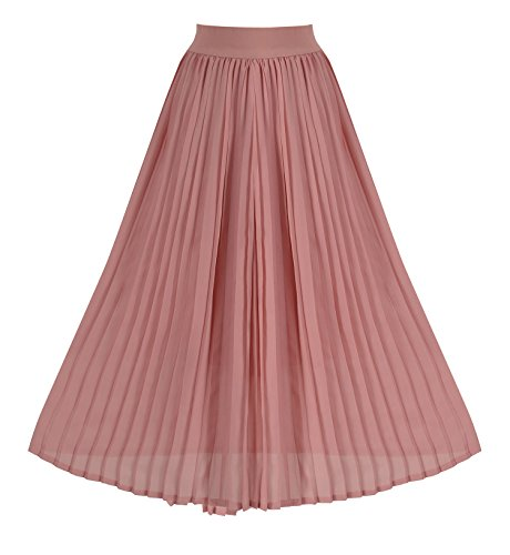 Howriis Women's Summer Chiffon Pleated A-Line Midi Skirt Dress (8-10, Dark Pink) Pleated Skirt