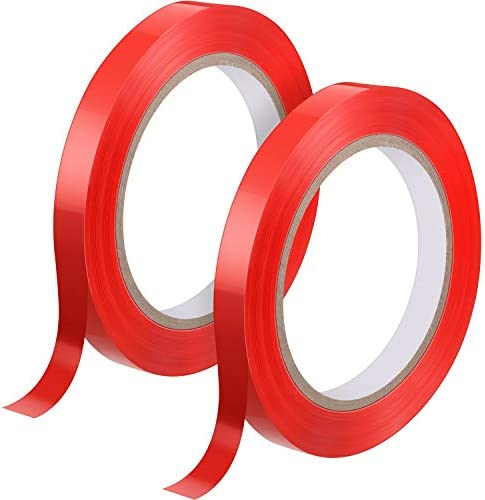 2 Rolls Red Poly Bag Sealing Tape 1/2 Inch x 110 Yards Freezer Bag Sealing Tape 2.4 Mil Thick 3 Inch Core Adhesive Tape Keep Product Inside Fresh