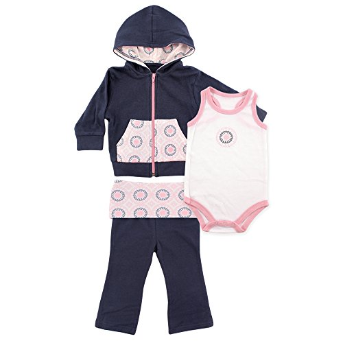 Yoga Sprout 3 Piece Jacket, Top and Pant Set, Navy/Baby Pink Ornamental, 6-9 Months (9M) -