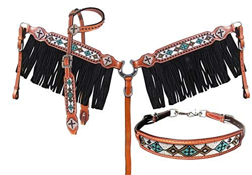 Showman Turquoise White Beaded Inlay 4 Piece One Ear Leather Bridle Headstall Wither Breast Collar