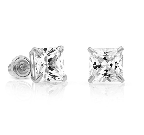 14k White Gold Cubic Zirconia Princess Cut Stud Earrings with Screw Backs (5MM)