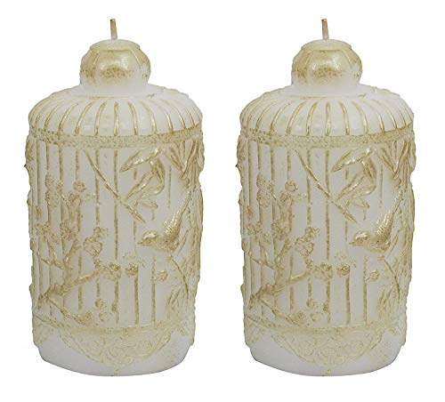 "LA JOLIE MUSE White Candle Set 2 6.5"", Table Decorations Holiday Decor Gifts for Her, Handcrafted Bird and Leaves"