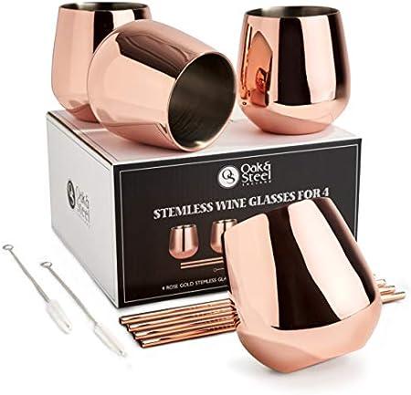 Oak & Steel 4 Elegantes Copas de Vino Acero Inoxidable - Oro Rosa Juego de Copas