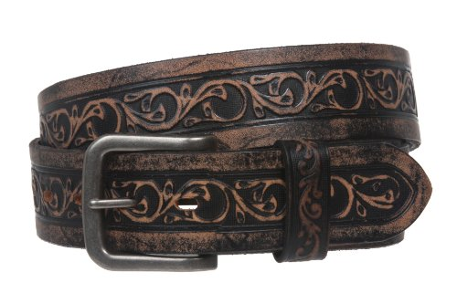 Snap On Soft Hand Floral Embossed Vintage Cowhide Full Grain Leather Casual Belt Size: 34 Color: Black