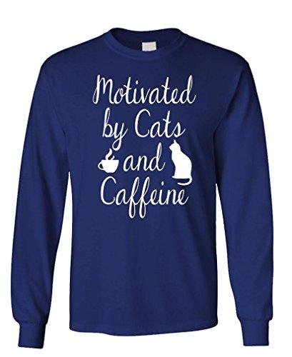 - v2 Cats Caffeine - Coffee Kittens Purr - Long Sleeved Tee, 2XL, Navy v2