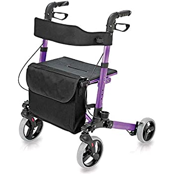 HealthSmart Rollator Walker with Seat and Backrest, Adjustable Handle Height, Removable Storage Bag and a Durable Lightweight Frame That Easily Folds ...