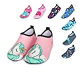 BFOEL Kids Swim Water Shoes Quick Dry Slip on Aqua Socks(Toddler/Little Kid)(9.5-10 M US Toddler,Pink Unicorn)