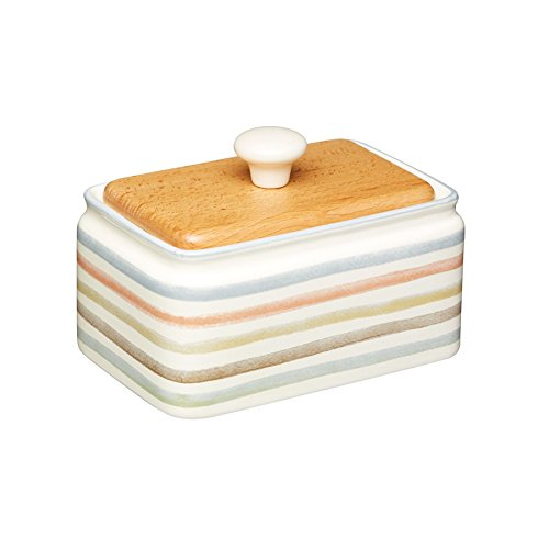 KitchenCraft Classic Collection Striped Ceramic Butter Dish with Lid