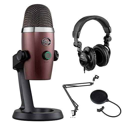 Blue Yeti Nano USB Condenser Microphone (Red Onyx) with Polsen HPC-A30 Monitor Headphones, Mic Suspension Boom & Pop Filter Bundle