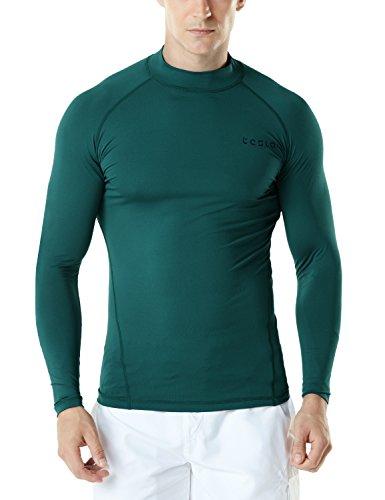TSLA Men's UPF 50+ Long Sleeve Rashguard, Basic(msr19) - DarkGreen, Medium.