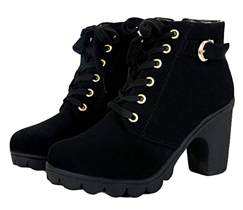 King Ma Womens Fashion High Heel Lace-up Thick Ankle Female Boots (Womens Ankle High Boots)