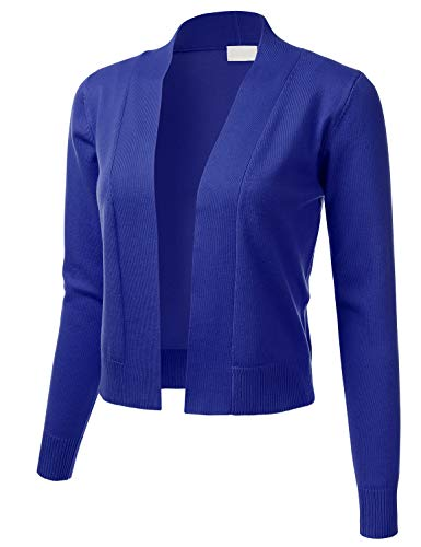 Cropped Cardigan Sweater - Women's Classic Long Sleeve Open Front Cropped Cardigan RoyalBlue M