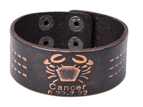 Sign Scorpio Pisces Cancer Horoscope 12 Zodiac Wristband Cuff Leather Bracelet for Men (Cancer) (Cancer Scorpio Zodiac)