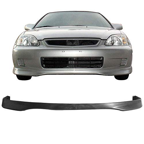 Front Bumper Lip Fits 1999-2000 Honda Civic | T-R Style Black PP Front Lip Finisher Under Chin Spoiler Add On by IKON ()