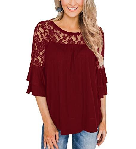 Barblure Women's Summer Sexy Lace 3/4 Sleeve Round Neck T Shirts Casual Blouses Tunics Chic Tee Tops