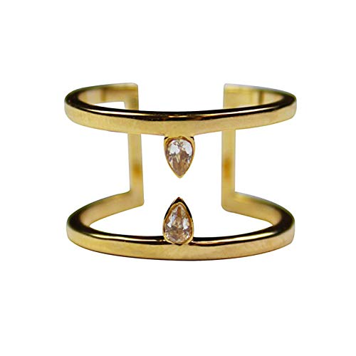Jules Smith Raindrop Gold Ring for Women or Girls- 14K Gold Plated Cuff Ring with Two Classic Teardrop Shaped Clear Cubic Zirconia Crystals ()