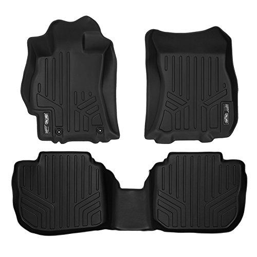 SMARTLINER Floor Mats 2 Row Liner Set Black for 2010-2014 Subaru Outback/Legacy Automatic Transmission
