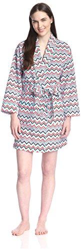 BedHead Pajamas Women's Short Robe, Adventure Chevron, M