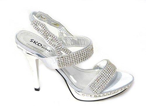 3 Chaussures 8551 nbsp;8 mariage Taille différents nbsp;6 de 8 Silver Mesdames Designs Diamante mariée Womens Talon Soirée sandales soirée nbsp;7 nbsp;4 nbsp;5 Haut SF6qXn1