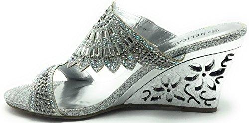 Mujeres Glitters Rhinestones Wedge Heel Peep Toe Elegante Prom Delicacy Sandalias Zapatos Plata / Simone-31